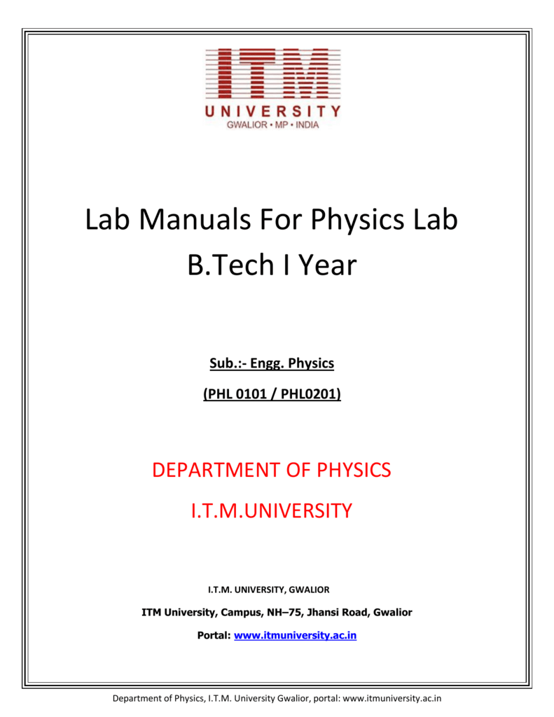 lab manual for physics itm university rh studylib net engineering physics lab manual jntu engineering physics lab manual for first year vtu