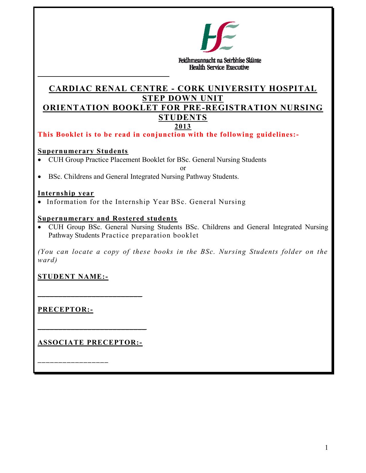 cardiac renal centre - cork university hospital step down unit