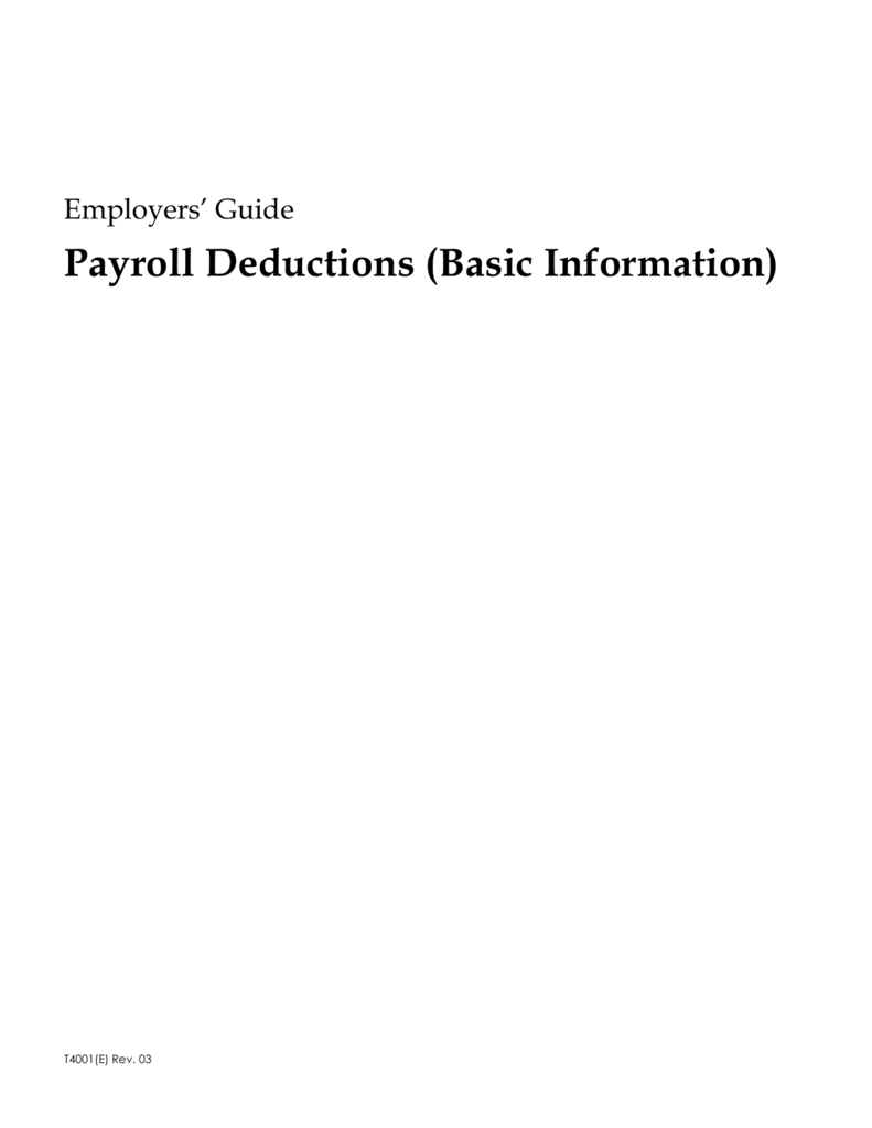 Calcul Salaire Net Québec >> Employers Guide Payroll Deductions Basic