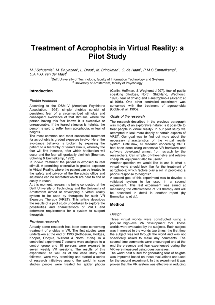 Treatment of Acrophobia in Virtual Reality: a Pilot Study