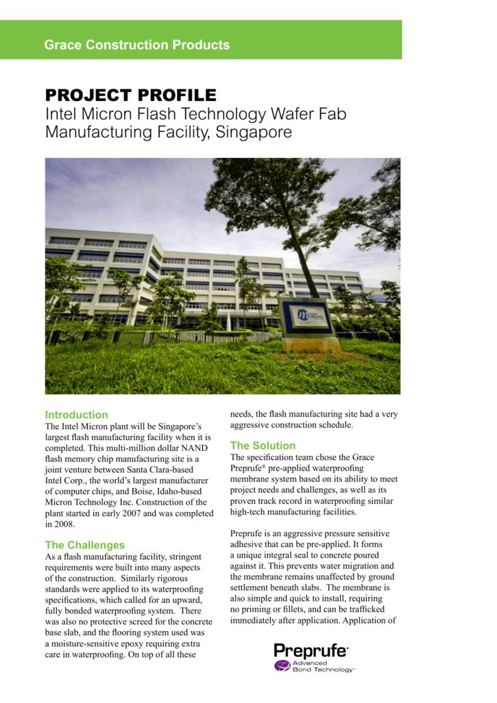 PROJECT PROFILE Intel Micron Flash Technology Wafer Fab