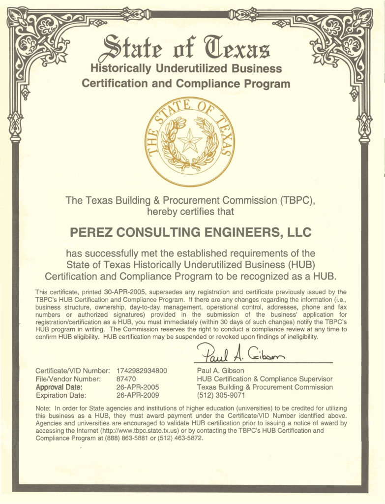 Hub certified perez consulting engineers 1betcityfo Choice Image