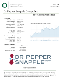 Dr Pepper Snapple Group, Inc. - University of Oregon Investment