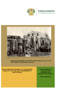 1913 Natives Land Act - Parliament of South Africa