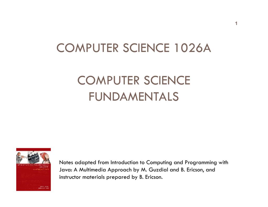 computer science 1026a computer science fundamentals