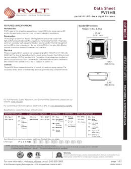 PV71HB Data Sheet - Revolution Lighting Technologies