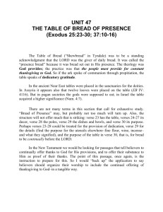 UNIT 47 THE TABLE OF BREAD OF PRESENCE (Exodus 25:23