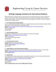 Writing/ Language Assistance for International Students