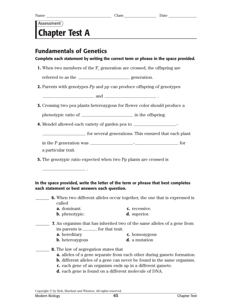 Chapter Test A