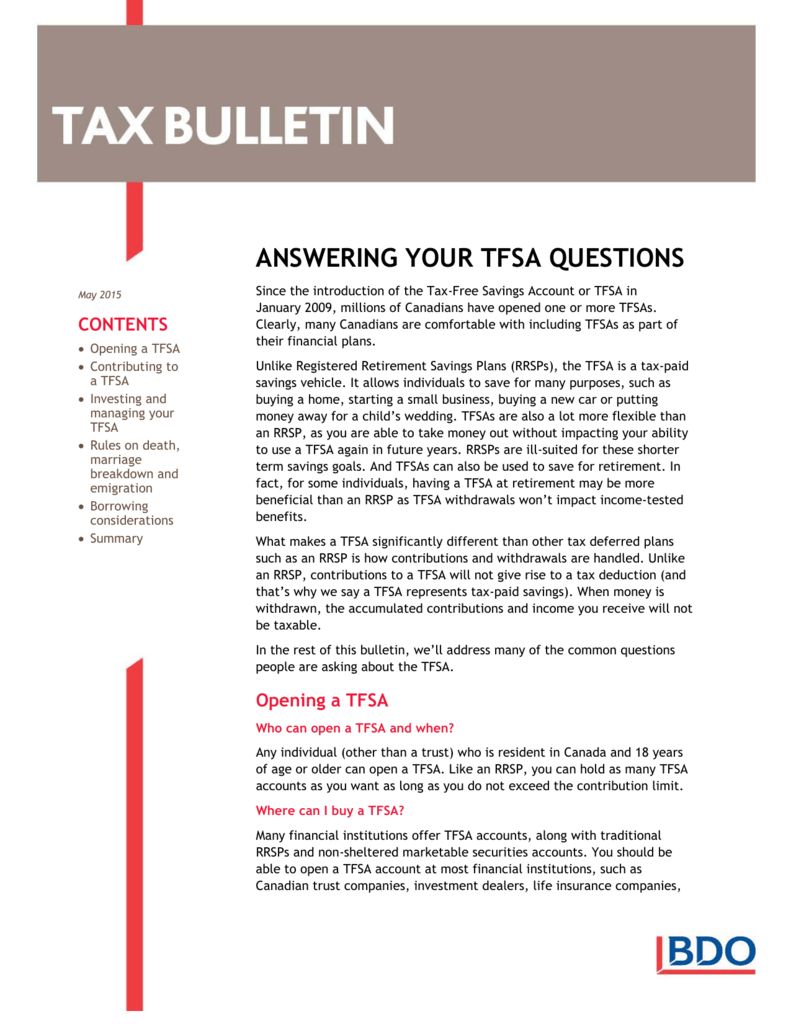 Answering Your TFSA Questions
