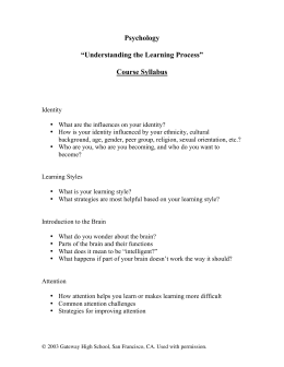 "Psychology ""Understanding the Learning Process"" Course Syllabus"