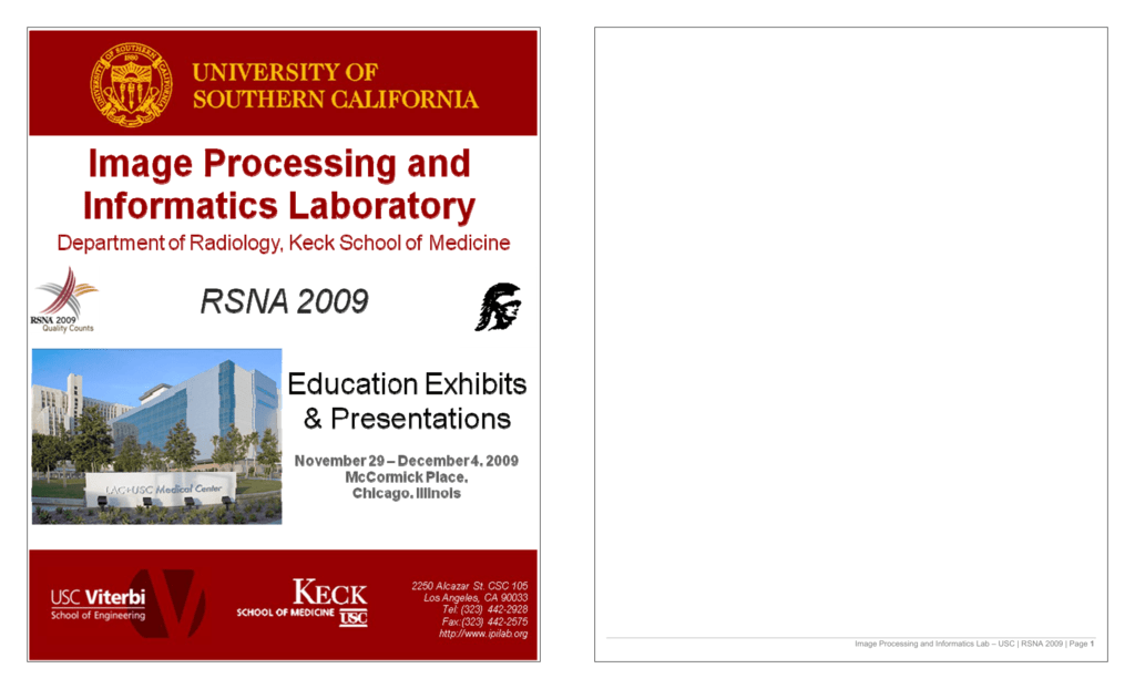 Image Processing and Informatics Lab – USC | RSNA 2009 | Page 1