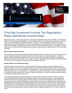Final Net Investment Income Tax Regulations Relax
