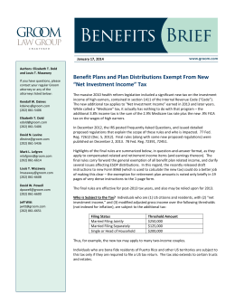 "Benefit Plans and Plan Distributions Exempt From New ""Net"