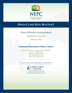 Does Class Size Matter? - The Great Lakes Center for Education