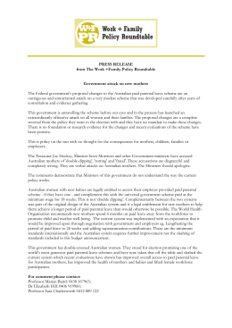 PRESS RELEASE from The Work +Family Policy Roundtable