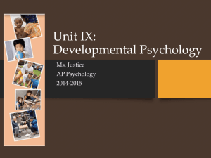 Unit IX: Developmental Psychology