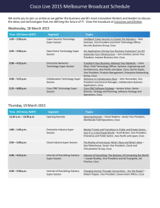 Cisco Live 2015 Melbourne Broadcast Schedule