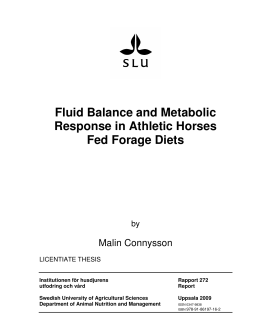 Fluid Balance and Metabolic Response in Athletic Horses Fed