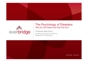 The Psychology of Disasters