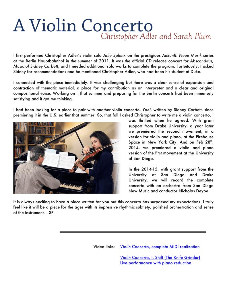 A Violin Concerto - Christopher Adler