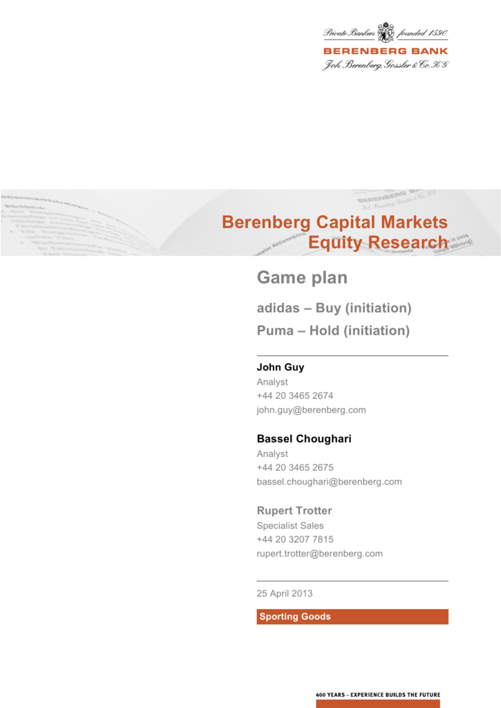 8c834bcd55b Berenberg Capital Markets Equity Research Game plan adidas