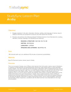 StudySync Lesson Plan Araby