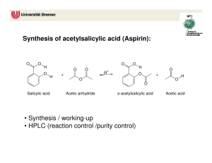 Synthesis of acetylsalicylic acid (Aspirin): • Synthesis / working