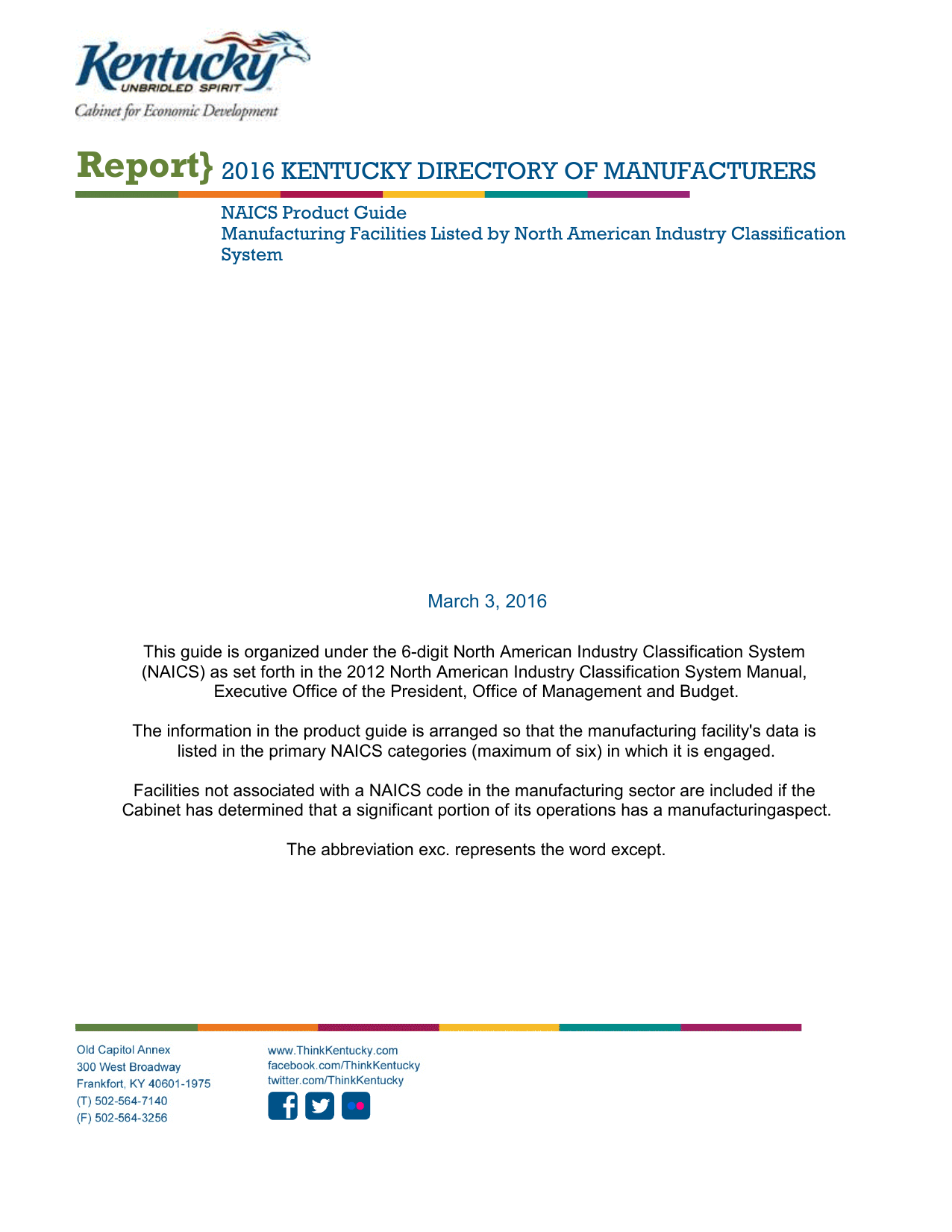 Report 2016 KENTUCKY DIRECTORY OF MANUFACTURERS