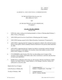 Galaxy Sports Inc. - Alberta Securities Commission