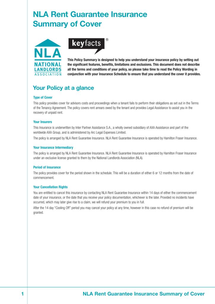 Nla Rent Guarantee Insurance Summary Of Cover
