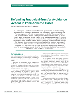 Defending Fraudulent-Transfer Avoidance Actions in Ponzi