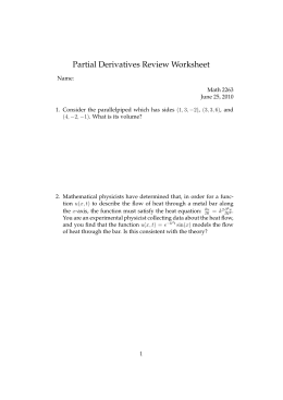 Partial Derivatives Review Worksheet