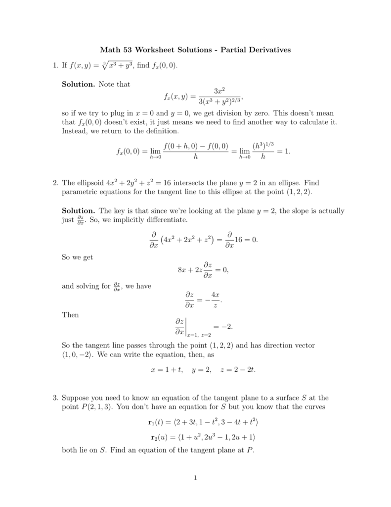 Math 53 Worksheet Solutions Partial Derivatives 1 If fx y – Parametric Equations Worksheet