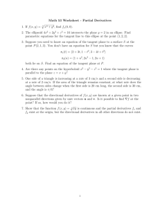 Math 53 Worksheet - Partial Derivatives 1. If f(x, y) = √x3 + y3, find fx