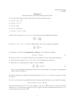 Math 2401 (K1-K3) 2/9/2015 Worksheet 7 Partial Derivatives, Chain