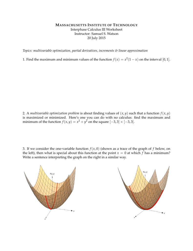Interphase Calculus III Worksheet Instructor: Samuel S. Watson 20