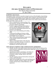 SYLLABUS PSY 201 - Nmsu - New Mexico State University
