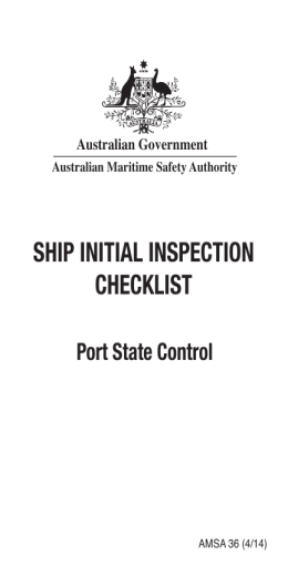 Ship iNiTiAL iNSpecTioN checKLiST