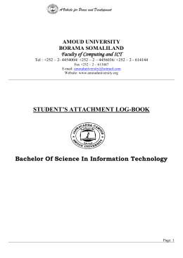 STUDENT'S ATTACHMENT LOG-BOOK Bachelor Of Science In
