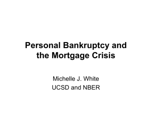 Personal Bankruptcy and the Mortgage Crisis