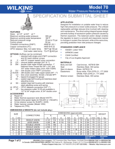 SPECIFICATION SUBMITTAL SHEET Model 70