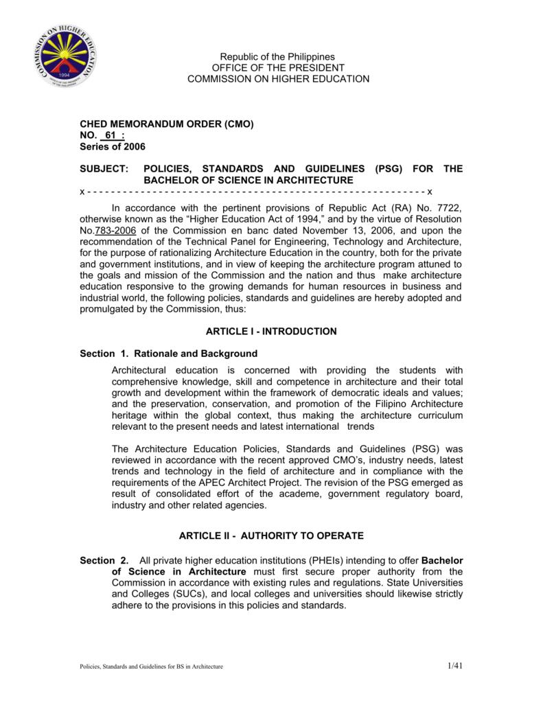 ched memorandum order (cmo) - Reconstituted Professional