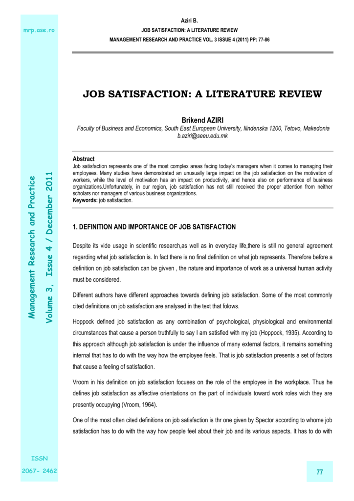 review of literature for job satisfaction
