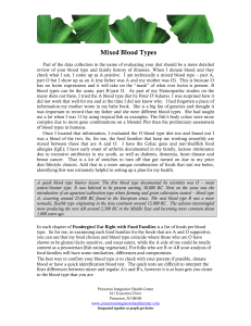 Mixed Blood Types - Princeton Integrative Health Care