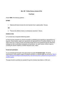 BSc. IBP - Political Science (Autumn 2014) Final Exam Answer ONE