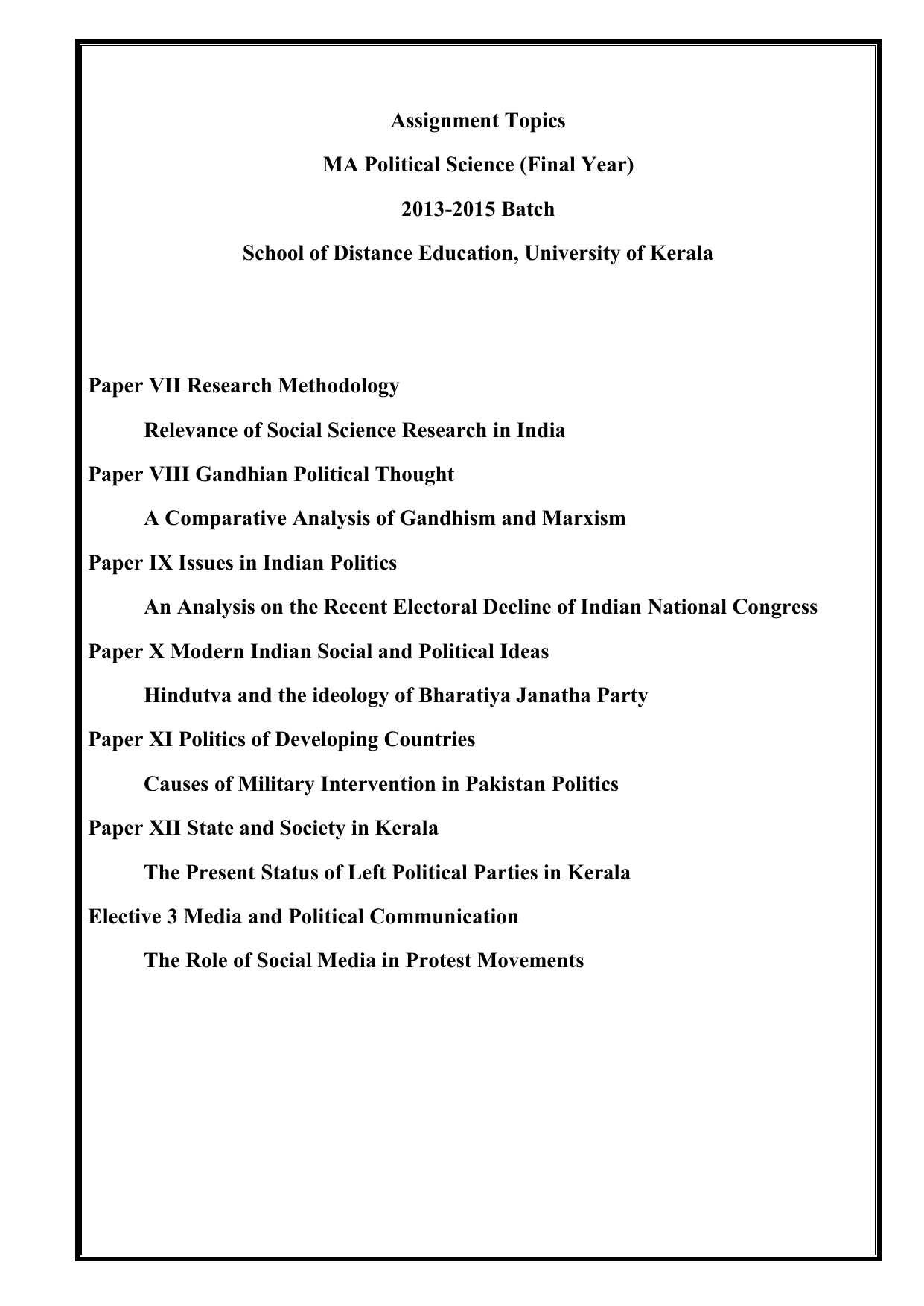 Best thesis topics for political science essay writing ebook free download