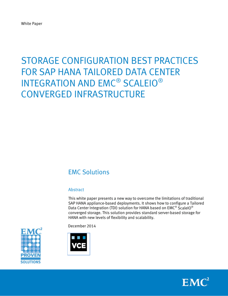 Storage Configuration Best Practices for SAP HANA Tailored
