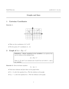Graphs and lines 1 Cartesian Coordinates 2 Graph of Ax + By = C