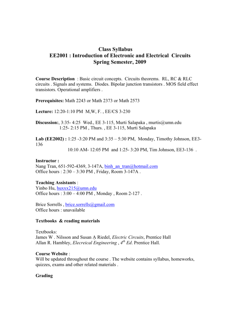 Class Syllabus Ee2001 Introduction Of Electronic And Electrical Rl Rc Rlc Circuits Reading
